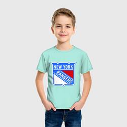 Футболка хлопковая детская New York Rangers цвета мятный — фото 2