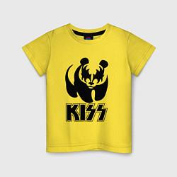 Футболка хлопковая детская KISS Panda цвета желтый — фото 1