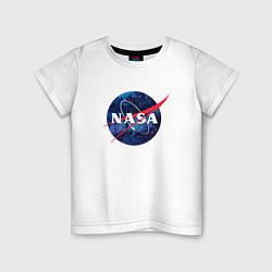 Футболка хлопковая детская NASA: Cosmic Logo цвета белый — фото 1