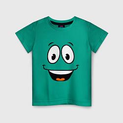 Футболка хлопковая детская Радостный смайлик цвета зеленый — фото 1