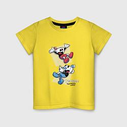 Футболка хлопковая детская Cuphead Friends цвета желтый — фото 1