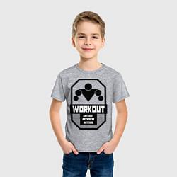 Футболка хлопковая детская WorkOut Anytime цвета меланж — фото 2