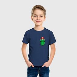 Футболка хлопковая детская Марио в кармане цвета тёмно-синий — фото 2