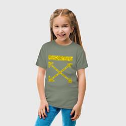 Детская хлопковая футболка с принтом Off-White: Yellow Arrows, цвет: авокадо, артикул: 10159184700014 — фото 2