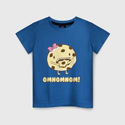 Футболка хлопковая детская Cake: Omnomnom! цвета синий — фото 1