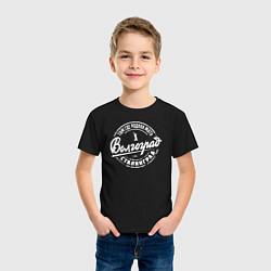 Футболка хлопковая детская Волгоград: родина мать цвета черный — фото 2