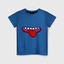Футболка хлопковая детская Зубастый рот и язычок цвета синий — фото 1
