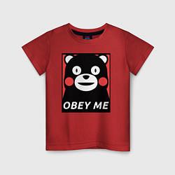 Футболка хлопковая детская Kumamon: Obey Me цвета красный — фото 1