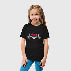 Футболка хлопковая детская Пульс Армении цвета черный — фото 2
