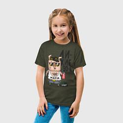 Футболка хлопковая детская Лихие 90-е цвета меланж-хаки — фото 2