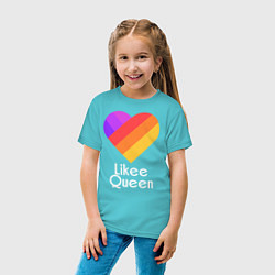 Футболка хлопковая детская Likee Queen цвета бирюзовый — фото 2