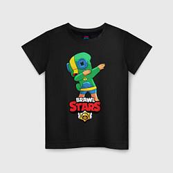 Футболка хлопковая детская Brawl Stars Leon, Dab цвета черный — фото 1