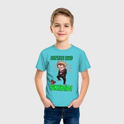 Футболка хлопковая детская Little Big цвета бирюзовый — фото 2