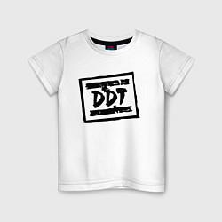 Футболка хлопковая детская ДДТ Лого цвета белый — фото 1