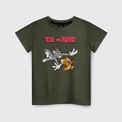 Футболка хлопковая детская Tom & Jerry цвета меланж-хаки — фото 1