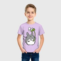 Футболка хлопковая детская Totoro и бабочка цвета лаванда — фото 2