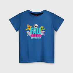 Футболка хлопковая детская FALL GUYS 2 СТОРОНЫ цвета синий — фото 1