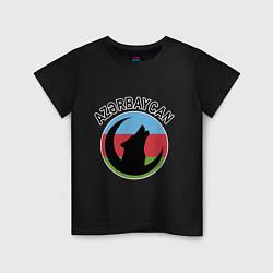 Футболка хлопковая детская Азербайджан цвета черный — фото 1