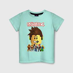 Футболка хлопковая детская ROBLOX цвета мятный — фото 1