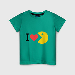 Футболка хлопковая детская I love Packman цвета зеленый — фото 1