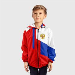 Ветровка с капюшоном детская Russia: Geometry Tricolor цвета 3D-черный — фото 2