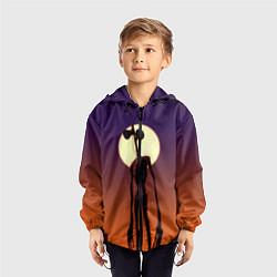 Ветровка с капюшоном детская Сиреноголовый Хоррор Закат цвета 3D-черный — фото 2