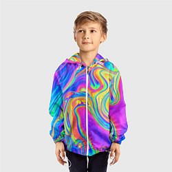 Ветровка с капюшоном детская Цветные разводы цвета 3D-белый — фото 2