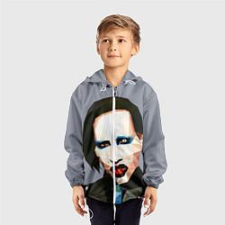 Ветровка с капюшоном детская Mаrilyn Manson Art цвета 3D-белый — фото 2
