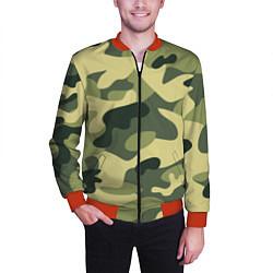 Бомбер мужской Камуфляж: зеленый/хаки цвета 3D-красный — фото 2