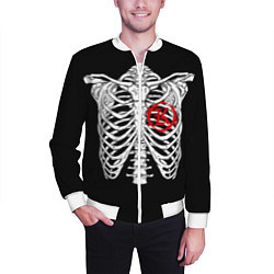 Бомбер мужской Кукрыниксы: Скелет цвета 3D-белый — фото 2