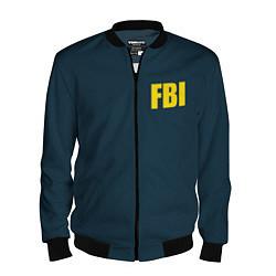 Бомбер мужской FBI цвета 3D-черный — фото 1