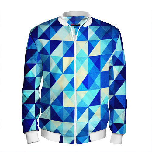 Мужской бомбер Синяя геометрия / 3D-Белый – фото 1