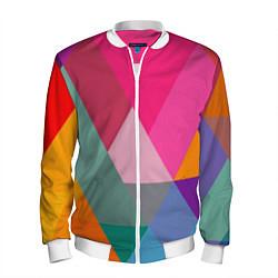 Бомбер мужской Разноцветные полигоны цвета 3D-белый — фото 1