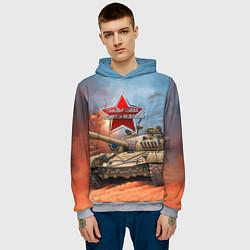 Толстовка-худи мужская Танковые войска РФ цвета 3D-меланж — фото 2