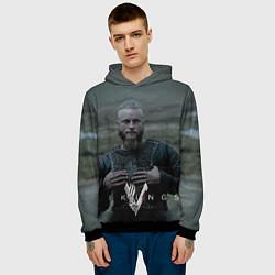 Толстовка-худи мужская Vikings: Ragnarr Lodbrok цвета 3D-черный — фото 2