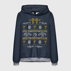 Толстовка-худи мужская Новогодний свитер Чужой цвета 3D-меланж — фото 1