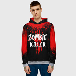 Толстовка-худи мужская Zombie Killer цвета 3D-меланж — фото 2
