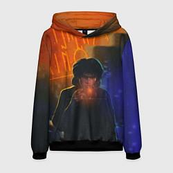Толстовка-худи мужская Виктор Цой в ночи цвета 3D-черный — фото 1