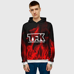 Толстовка-худи мужская Thousand Foot Krutch: Red Flame цвета 3D-белый — фото 2