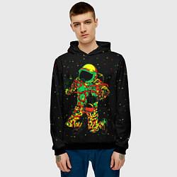 Толстовка-худи мужская Космонавт с кальяном цвета 3D-черный — фото 2