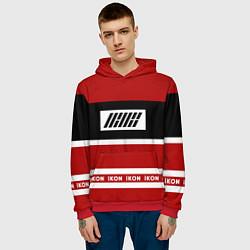 Толстовка-худи мужская IKON Stripes цвета 3D-красный — фото 2