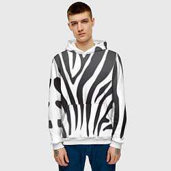 Толстовка-худи мужская Африканская зебра цвета 3D-белый — фото 2