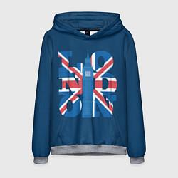 Толстовка-худи мужская London: Great Britain цвета 3D-меланж — фото 1