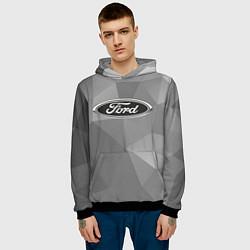 Толстовка-худи мужская Ford чб цвета 3D-черный — фото 2