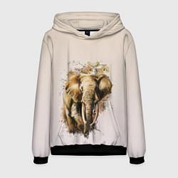 Толстовка-худи мужская Акварельный слон брызги цвета 3D-черный — фото 1