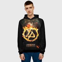 Толстовка-худи мужская Linkin Park: Burning the skies цвета 3D-черный — фото 2