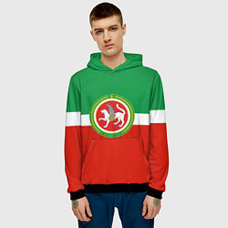Толстовка-худи мужская Татарстан: флаг цвета 3D-черный — фото 2