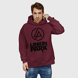 Толстовка оверсайз мужская Linkin Park цвета меланж-бордовый — фото 2