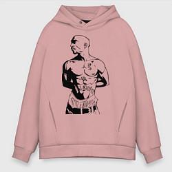 Толстовка оверсайз мужская 2pac цвета пыльно-розовый — фото 1