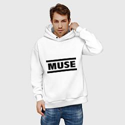 Толстовка оверсайз мужская Muse цвета белый — фото 2